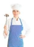 Retrato do cozinheiro fêmea do cozinheiro chefe Fotografia de Stock Royalty Free