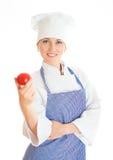 Retrato do cozinheiro fêmea feliz do cozinheiro chefe Imagens de Stock Royalty Free