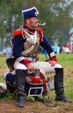 Retrato do Cuirassier no reenactment histórico da batalha de Borodino em Rússia Imagens de Stock