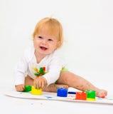 Retrato do desenho do bebé com pinturas Imagens de Stock Royalty Free