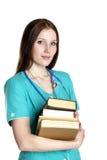Retrato do doutor fêmea com livros fotografia de stock