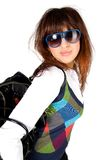 Retrato do encanto da mulher nova com óculos de sol fotografia de stock