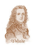 Retrato do esboço do estilo da gravura de Voltaire Fotos de Stock Royalty Free