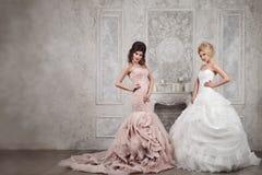 Retrato do estúdio de duas noivas novas bonitas em vestidos longos Imagens de Stock