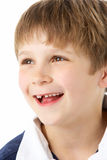 Retrato do estúdio de rir o menino novo imagem de stock