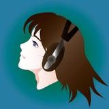 Retrato do estilo do Anime da menina nos fones de ouvido Foto de Stock Royalty Free