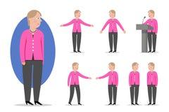 Retrato do estilo dos desenhos animados do chanceler político e alemão Angela M Foto de Stock Royalty Free