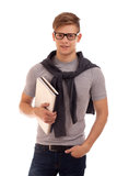 Retrato do estudante com livros Imagens de Stock
