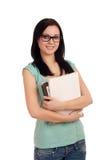 Retrato do estudante fêmea com livros. fotografia de stock royalty free