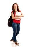 Retrato do estudante fêmea com livros imagem de stock royalty free