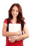 Retrato do estudante fêmea com livros imagens de stock