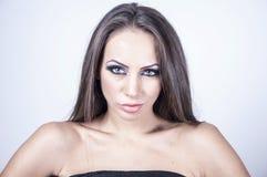 Retrato do Fim-acima de uma jovem mulher Fotografia de Stock Royalty Free