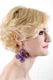 Mulher com cabelo louro e composição Fotografia de Stock