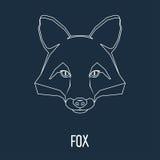 Retrato do Fox tirado em uma linha contínua ilustração royalty free
