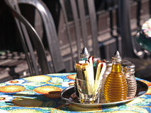 Retrato do fundo de Flavoring no restaurante Tabl fotos de stock