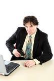 Retrato do fundo do branco de With Gun Over do homem de negócios Fotografia de Stock Royalty Free