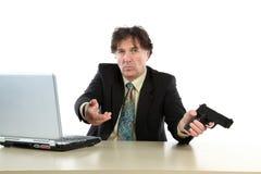 Retrato do fundo do branco de With Gun Over do homem de negócios Fotos de Stock