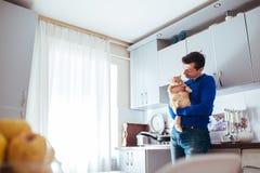Retrato do gato consider?vel da terra arrendada do homem novo na cozinha imagens de stock