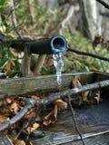 Retrato do gelo da água na torneira de bambu Fotos de Stock