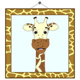 Retrato do Giraffe no frame do giraffe Fotos de Stock Royalty Free