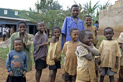 Retrato do grupo de alunos do Ugandan fotografia de stock royalty free