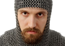 Retrato do guerreiro medieval no hauberk Foto de Stock Royalty Free