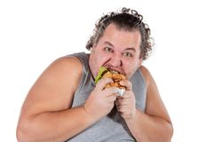 Retrato do hamburguer antropófago gordo engraçado do fast food isolado no fundo branco fotos de stock
