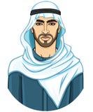 Retrato do homem árabe atrativo novo em um keffiyeh ilustração royalty free