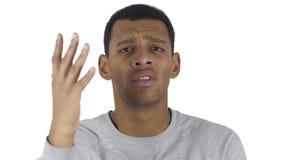 Retrato do homem afro-americano que gesticula a frustração e a raiva video estoque