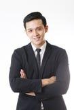 Retrato do homem asiático isolado e do fundo com sinal do gesto imagem de stock royalty free