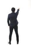 Retrato do homem asiático isolado e do fundo com sinal do gesto fotos de stock