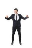 Retrato do homem asiático no fundo isolado com sinal do gesto Fotos de Stock Royalty Free