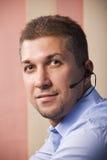 Retrato do homem da barba do serviço de atenção a o cliente Imagens de Stock