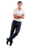 Retrato do homem de negócio isolado no branco Fotografia de Stock