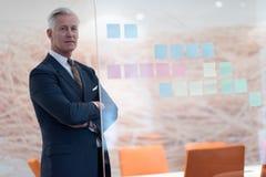 Retrato do homem de negócio superior considerável no escritório moderno Fotografia de Stock Royalty Free