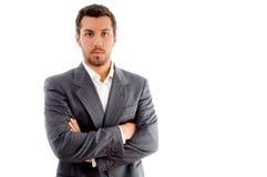 Retrato do homem de negócios com mãos dobradas Fotografia de Stock