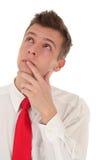 Retrato do homem de negócios de pensamento Imagem de Stock Royalty Free