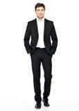 Retrato do homem de negócios de sorriso no terno preto Foto de Stock