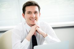 Retrato do homem de negócios em um escritório fotografia de stock
