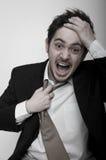 Retrato do homem de negócios forçado irritado Imagens de Stock Royalty Free