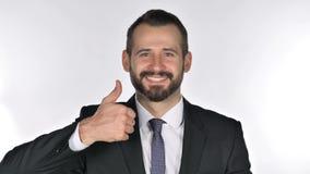 Retrato do homem de negócios Gesturing Thumbs Up da barba filme