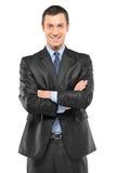Retrato do homem de negócios novo de sorriso feliz imagem de stock