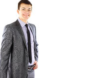 Retrato do homem de negócios novo de sorriso feliz foto de stock royalty free