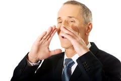 Retrato do homem de negócios que chama para alguém Fotografia de Stock Royalty Free