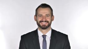 Retrato do homem de negócios de sorriso Looking da barba na câmera vídeos de arquivo