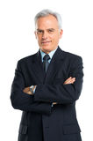 Retrato do homem de negócios superior With Hands Folded Fotos de Stock Royalty Free