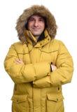 Retrato do homem de sorriso no revestimento do inverno Imagem de Stock Royalty Free