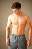 Retrato do homem desportivo muscular que está no marrom Imagem de Stock