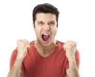 Retrato do homem irritado novo Fotografia de Stock