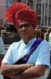 Retrato do homem Jain indiano da comunidade no vestido ou no turbante principal tradicional foto de stock